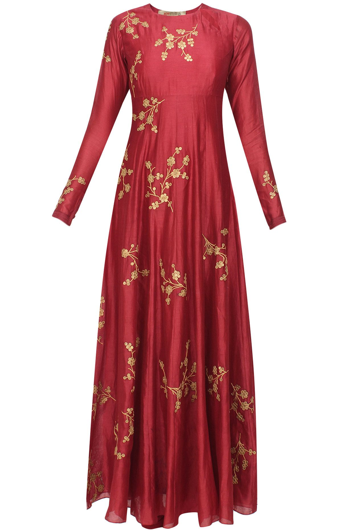 Maroon floral sequins embroidered flared anarkali set available only