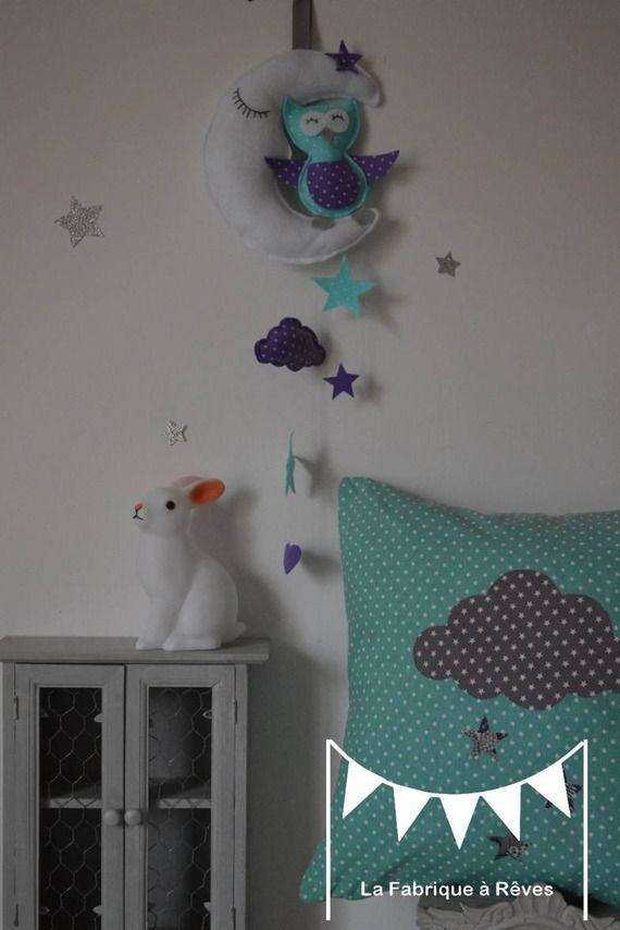 Guirlande étoiles turquoise violet mauve gris - décoration chambre - deco chambre turquoise gris
