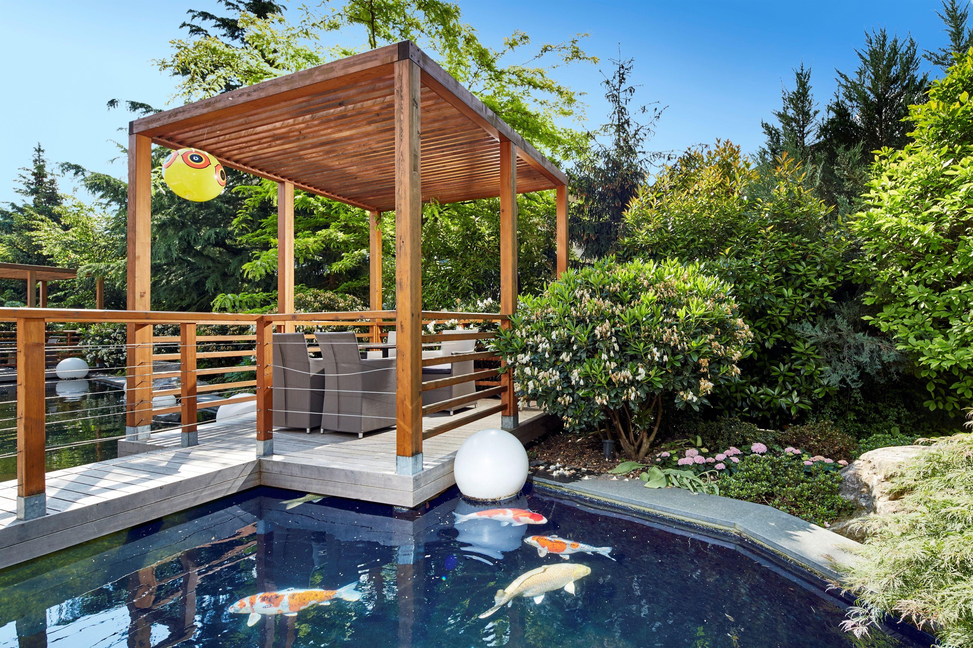 mediterrane terrasse mit koi-teich im dolcevita hotel feldhof, Gartenarbeit ideen