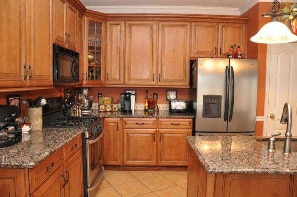 Lovable Kitchen Countertops Oak Cabinets Using Sapphire Brown Brilliant Kitchen Designs With Oak Cabinets Design Decoration