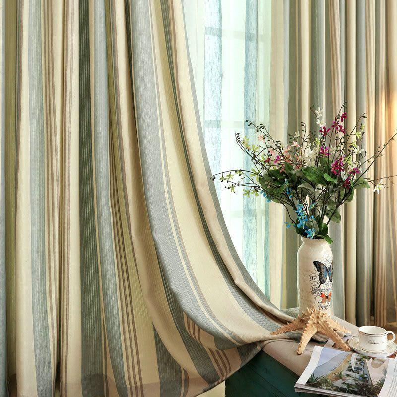 Japanese Simple Curtain Stripes Jacquard Curtain Soft Environment