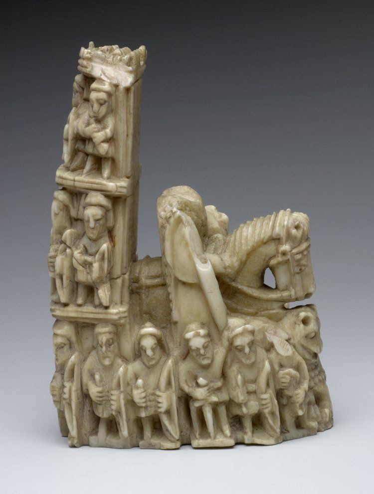 Chess-piece; morse ivory; mounted king issuing from castle