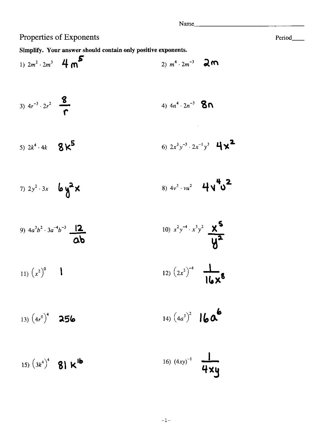 Exponents Worksheet Grade 12   Printable Worksheets and Activities for  Teachers [ 1664 x 1275 Pixel ]