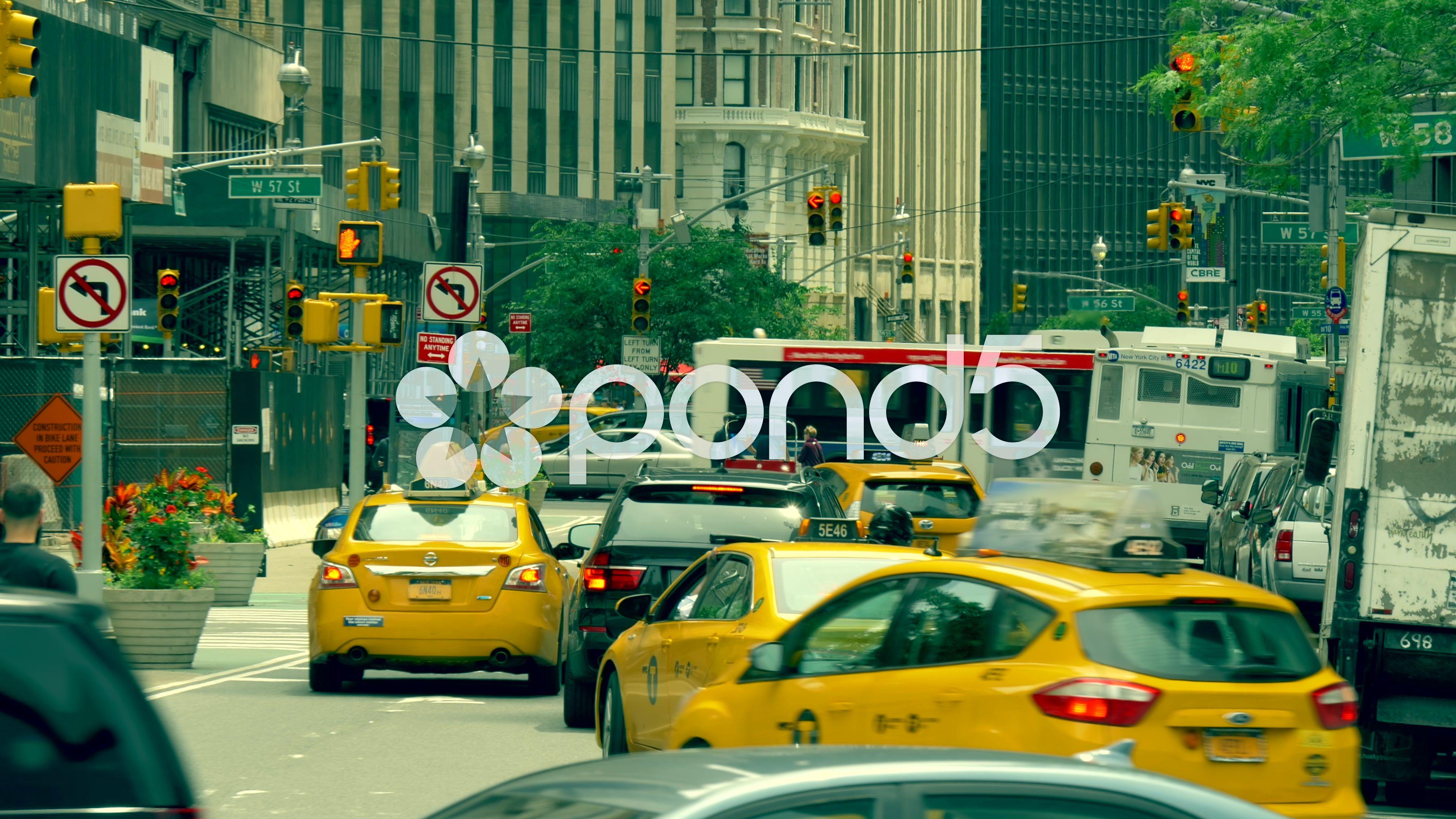 Manhattan Rush Hour Busy Street Traffic Intersection New York City