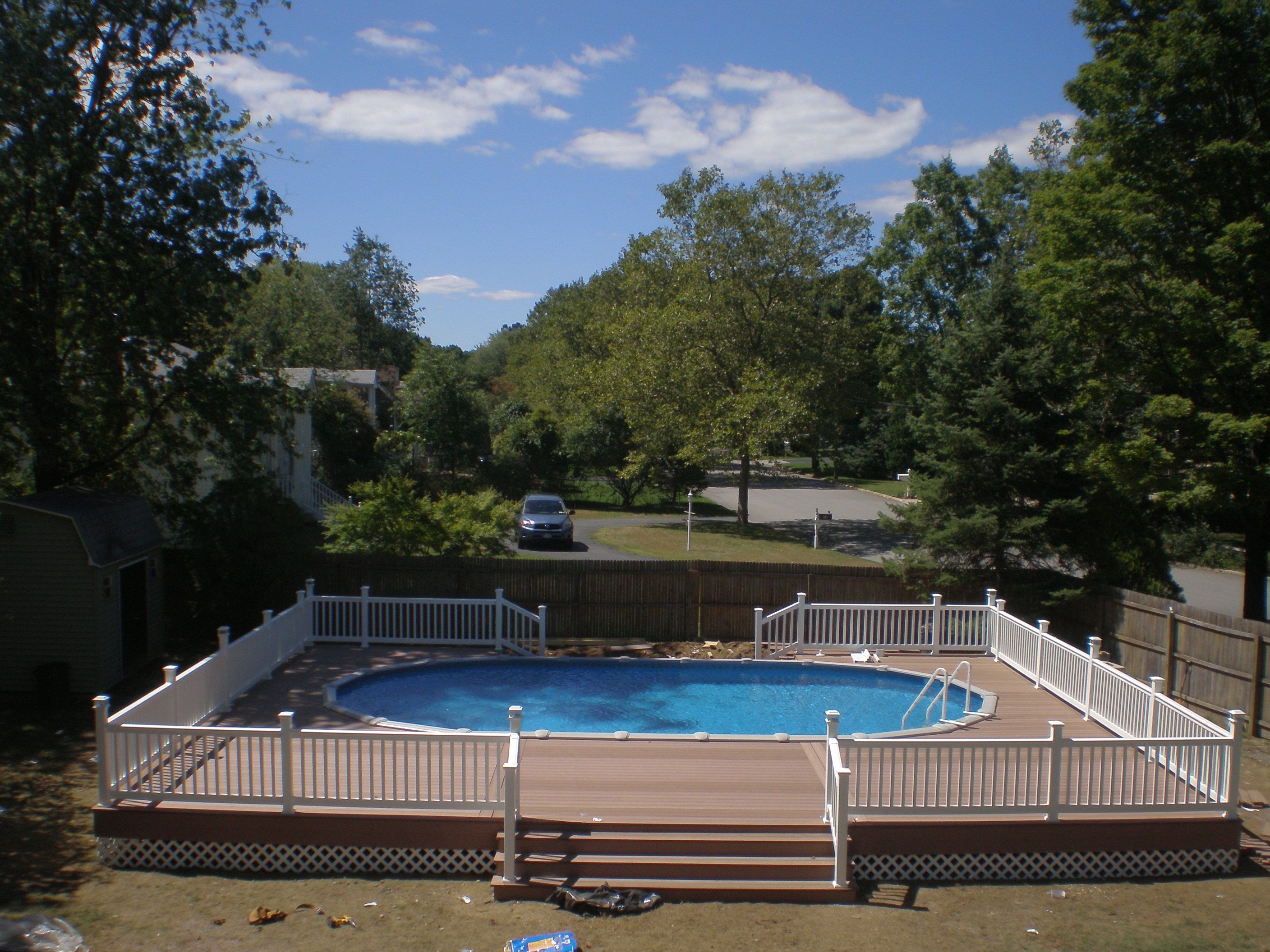18x33 semi inground pool with deck brothers 3 pools for Semi inground pool
