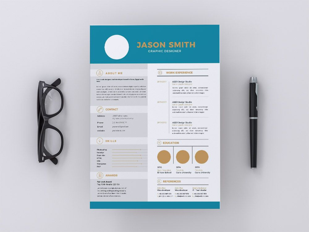 Free Professional Illustrator Resume Template With Blue Color Scheme