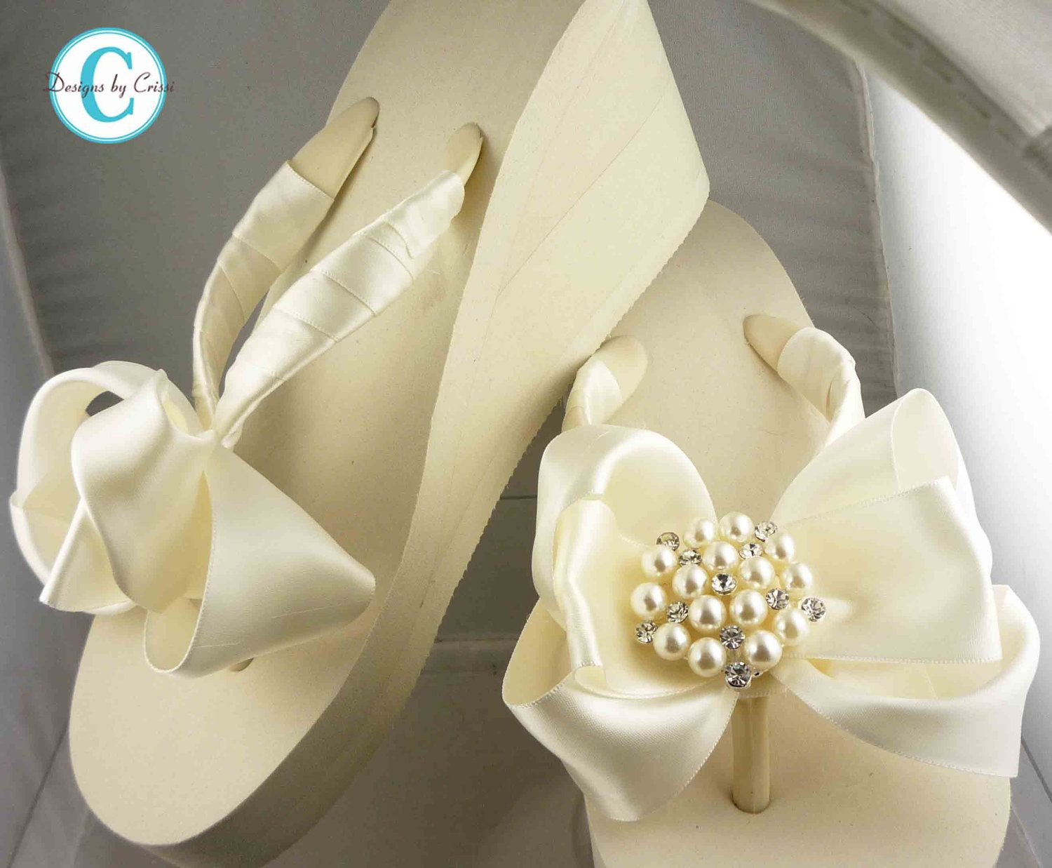 Ivory Wedge Bridal Flip Flops Rhinestone Satin Pearl Rhinestone Bow Wedding Bride Platform Heel Wedding Ribbon