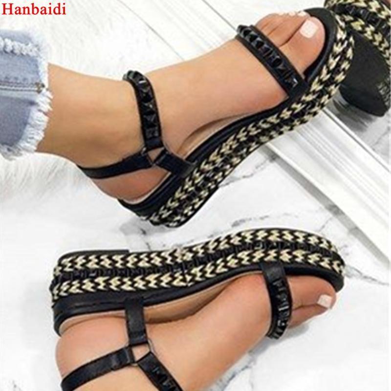 Hanbaidi Fashion Pearl Rivets Studs Women Summer Sandals Runway Peep Toe Platform Wedges Pumps Street Style Gladiator Sandals  1