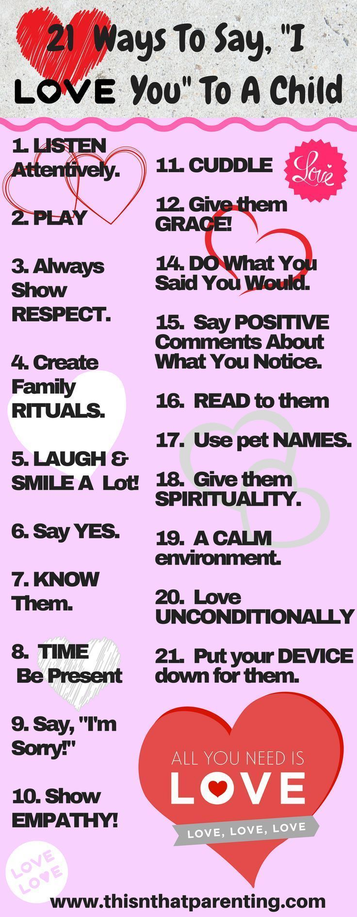 21 Ways To Say I Love You To Your Child Smart Parenting Good Parenting Confidence Kids