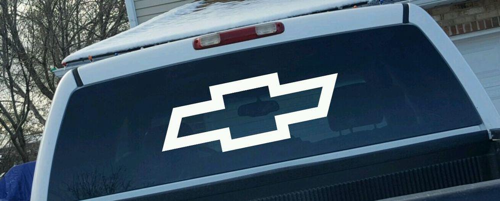 35 Chevrolet Logo Bow Tie Vinyl Decal Rear Truck Window Sticker Large Truck Window Stickers Truck Accessories Monster Truck Room Decor