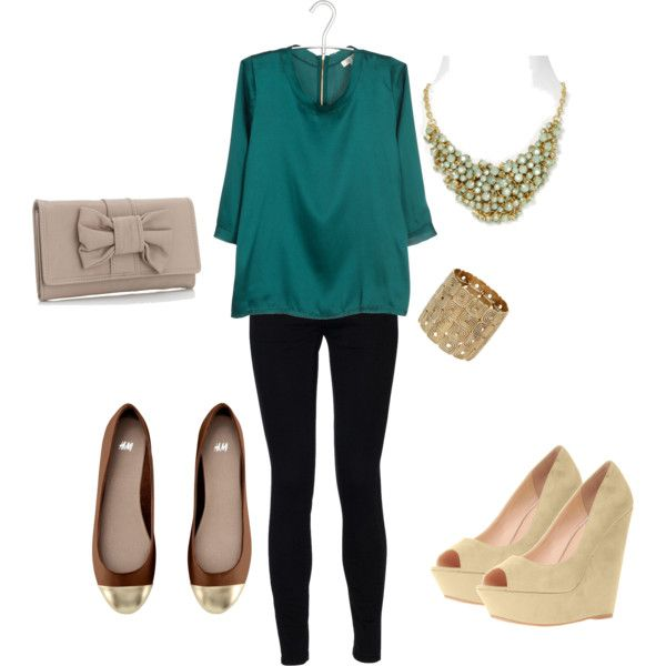 statement necklace and silk blouse