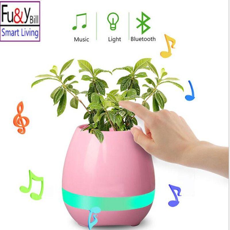 Fu Y Bill New Led Wireless Bluetooth Speakers Smart Music Flower Pot Funny Cute Design Wireless Speaker Colorful Loudspeaker Flower Pots Music Flower