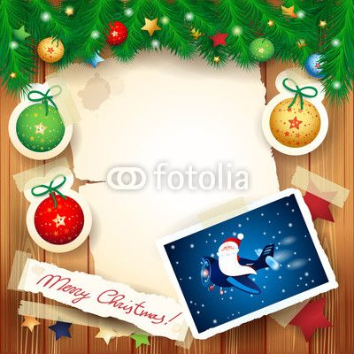 Christmas background with #funny #Santa on the #airplane #vector