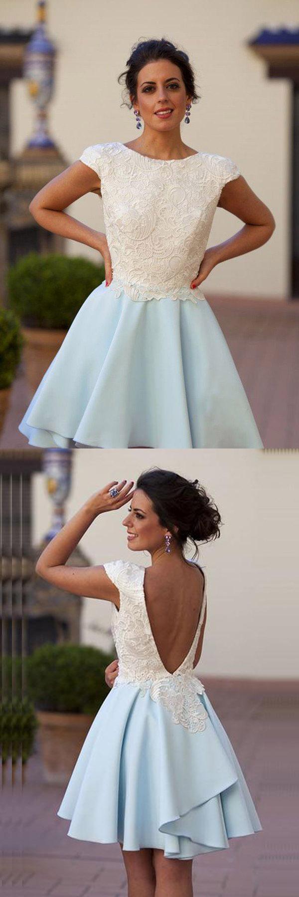 Bateau kneelength light blue chiffon homecoming dress with