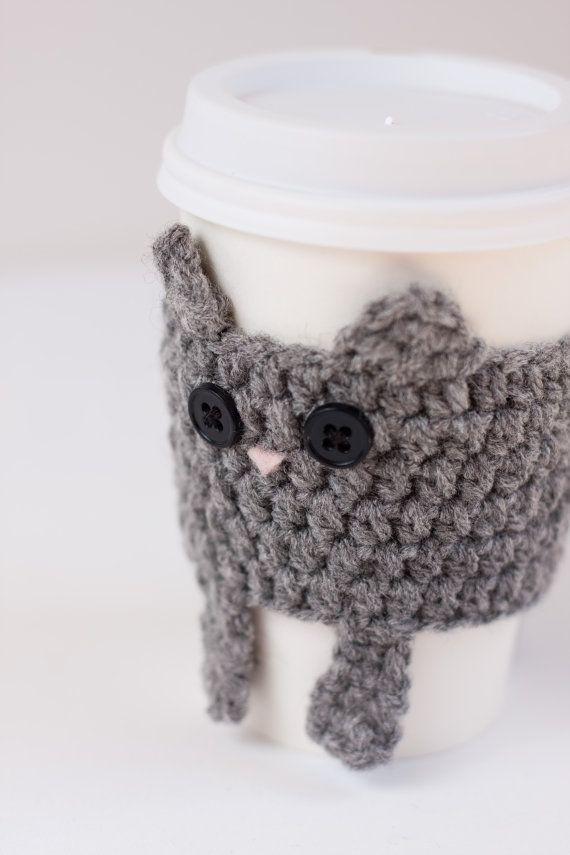 Cat crochet cup cozy | followpics.co | Hækleopskrifter | Pinterest ...