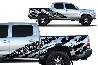 Vinyl Decal Tacoma Shred Wrap For 4d Toyota Tacoma Short Bed 05 15 Matte Black Toyota Tacoma Lifted Trucks Trucks