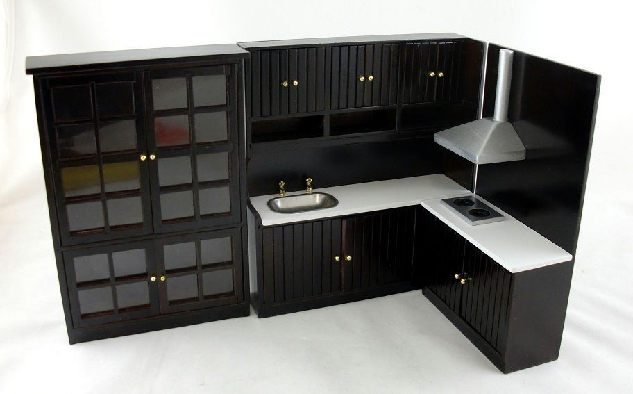 dollhouse miniature modern jacobean dark oak kitchen