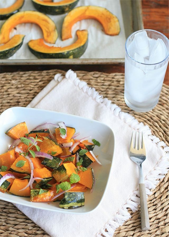 Roasted Kabocha Squash with Oregano and Mint