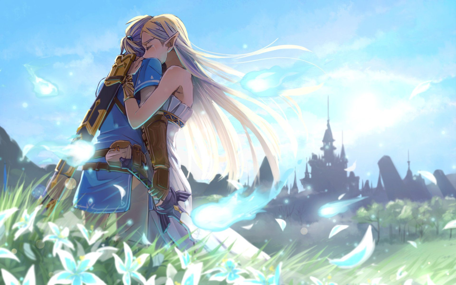 Video Game The Legend Of Zelda Breath Of The Wild Link Zelda Hug Wallpaper Legend Of Zelda Breath Legend Of Zelda Breath Of The Wild