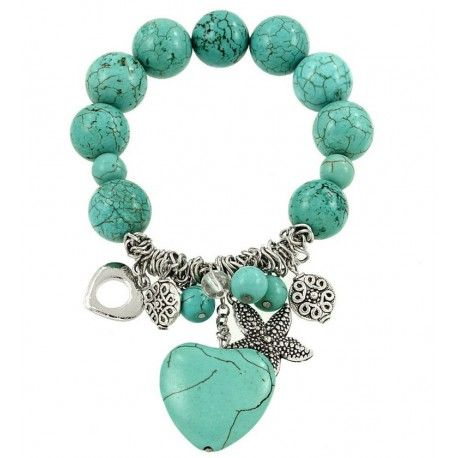 Stone Heart Bracelet Reference: 7463LC Condition: New product Elastic Turquoise or White