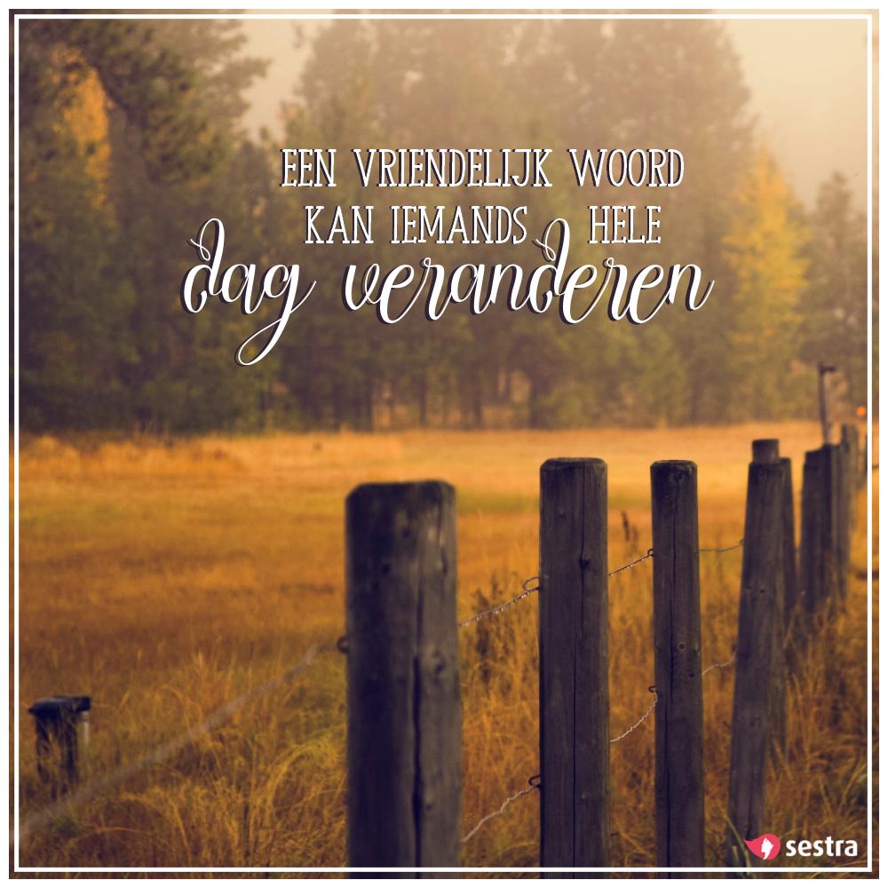 een vriendelijk woord spreuken Een vriendelijk woord kan iemands hele dag veranderen.   Sestra  een vriendelijk woord spreuken