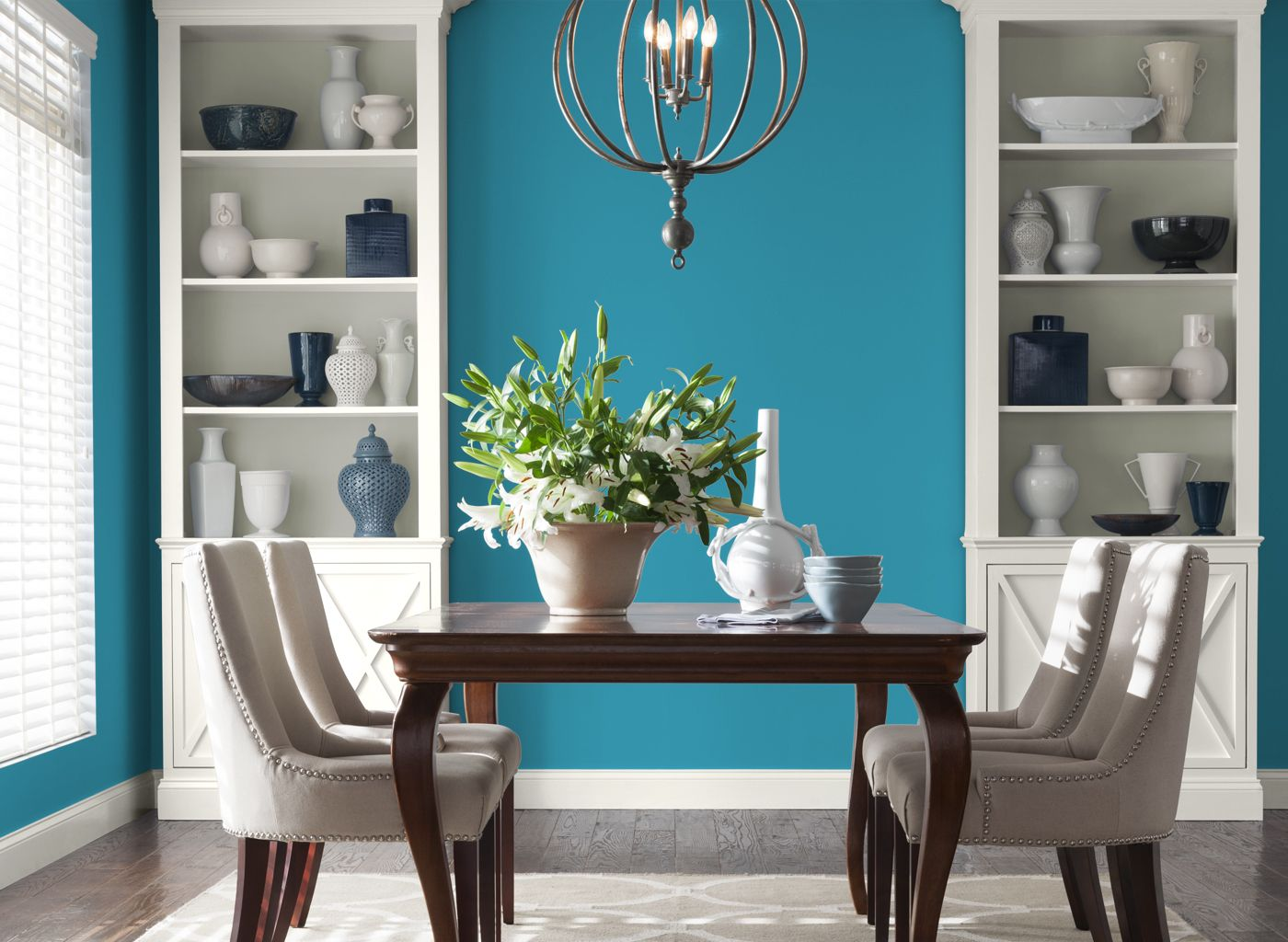 teal blue dining room