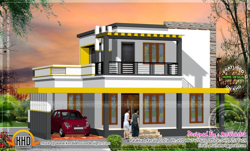 178 square yards house elevation and plan kerala home for Kerala home design flat roof elevation