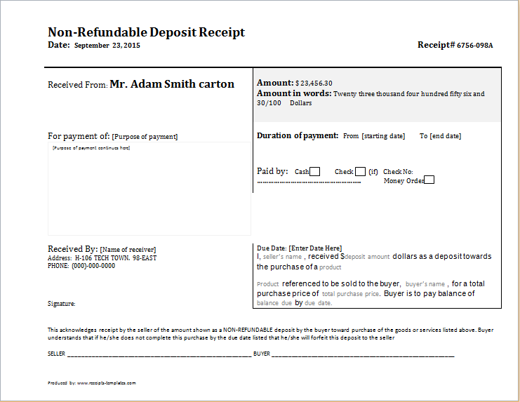 deposit receipts template