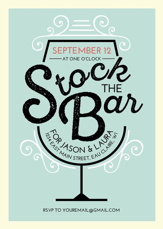 Stock The Bar Wedding Shower Printed Invitation By Themunch