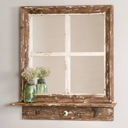 Rustic Cottage Window Wall Mirror with Shelf | Modern Industrial Chic Rustic Industrial Farmhouse Style #farmhousestyle #rusticdecor #modernfarmhouse #vintageindustrial #joannagaines #fixerupper #rusticchic #farmhousechic #farmhousekitchen #farmhouselivingroom #farmhousebathroom #farmhousebedroom ...#EANF# #EANF# ...#EANF# #EANF# #about.blindmelondecor.com #rustic-cottage-d-ecor #rustic