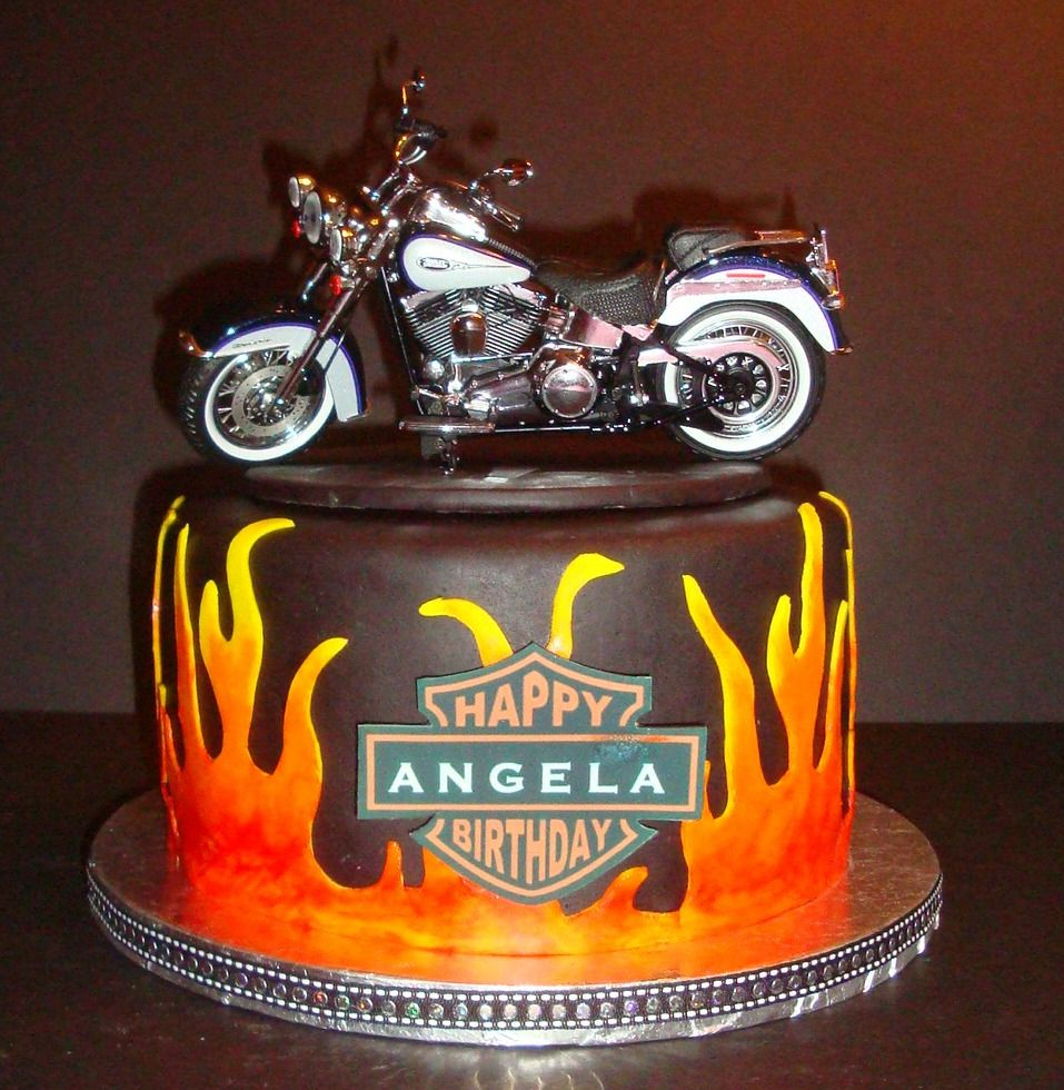 Superb 40Th Birthday Motorcycle Cakes Pin Harley Davidson 40Th Birthday Funny Birthday Cards Online Alyptdamsfinfo