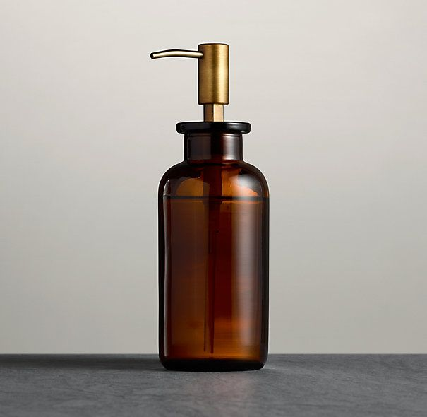 Restoration Hardware Pharmacy Soap Dispenser Amber Glass $29