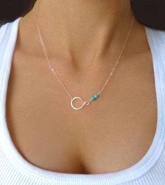 Türkise silver turquoise necklace dainty delicate infinity necklace small