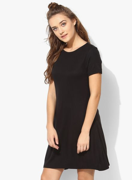 Black Coloured Solid Shift Dress In 2018 Nanita Cocktail Dress