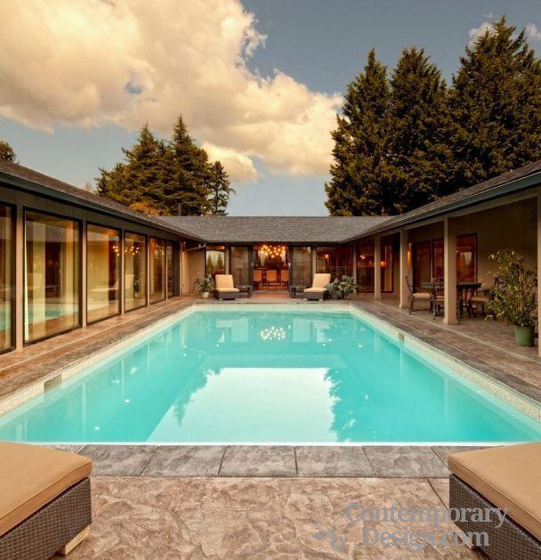U Shaped House Designs Contemporary Design Courtyard House Plans Pool House Plans Courtyard Design