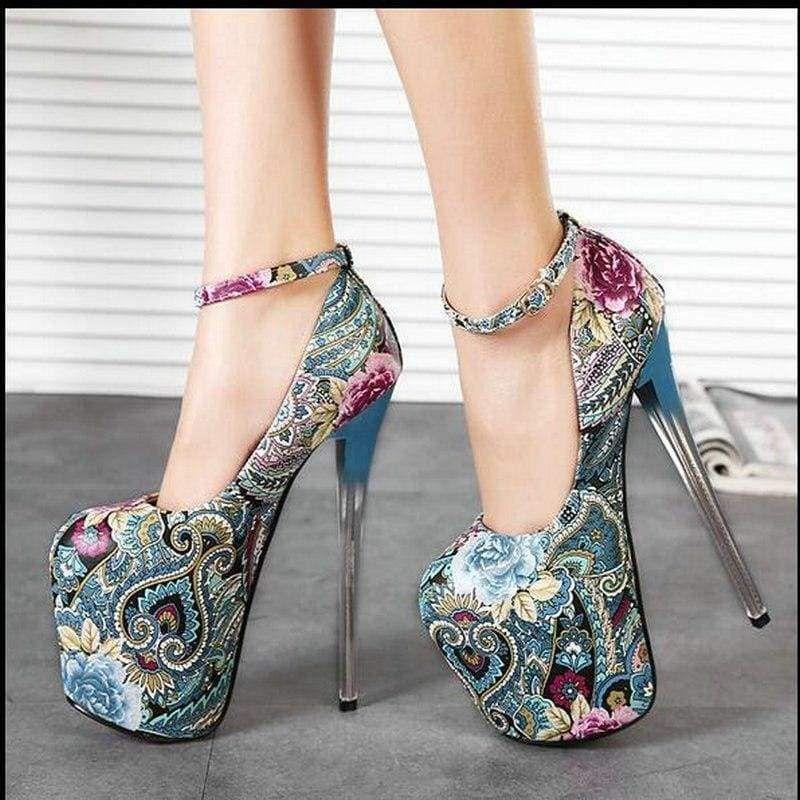 Women Super High Heels Platform Stiletto Pumps Ankle Strap Sandal Shoes Zsell