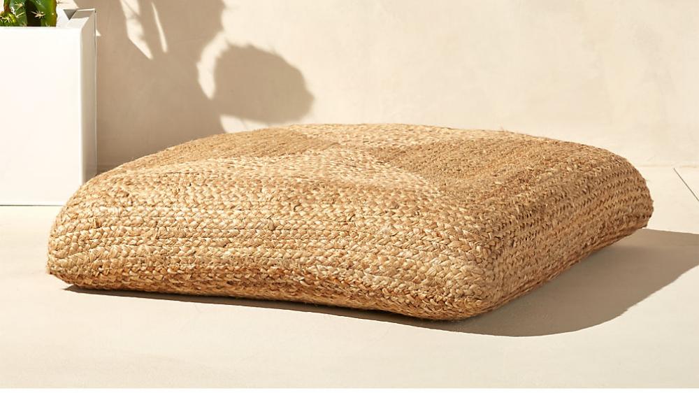 Braided Jute Floor Cushion Reviews Cb2 Floor Cushions Floor Cushions Living Room Large Floor Pillows