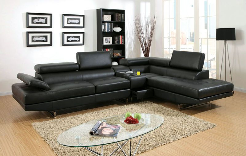 Kemi modern black sectional sofa with speaker console and ...