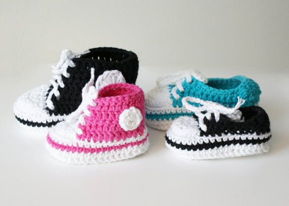 Crochet High Top Booties Free Pattern : DIY Crochet PATTERN - Chucky Baby High-Top & Sneaker ...