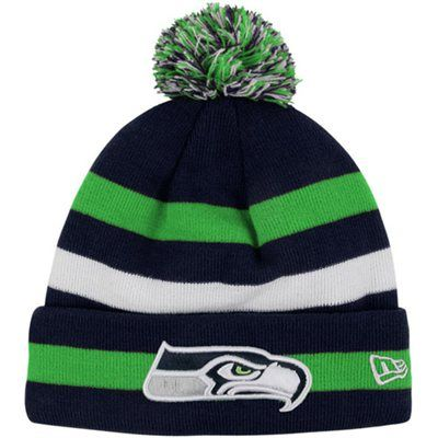 b1a482458e5223 New Era Seattle Seahawks Youth 2012 Sideline Sport Knit Beanie - College  Navy/Action Green. #fanatics