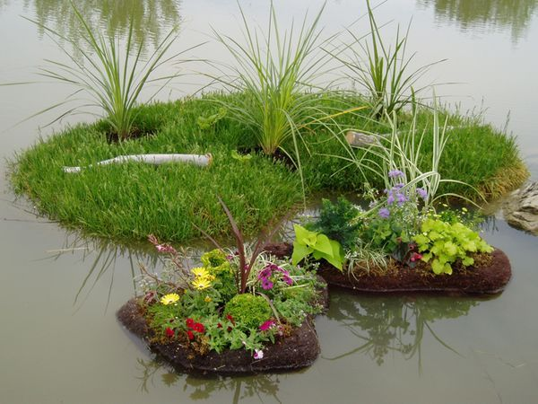 3 different mini floating islands you can diy the island for Plastic floating pond plants