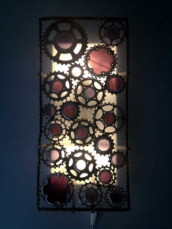 Custom Made Recycled Bicycle Cog Wall Sconce With Colored Stained Glass