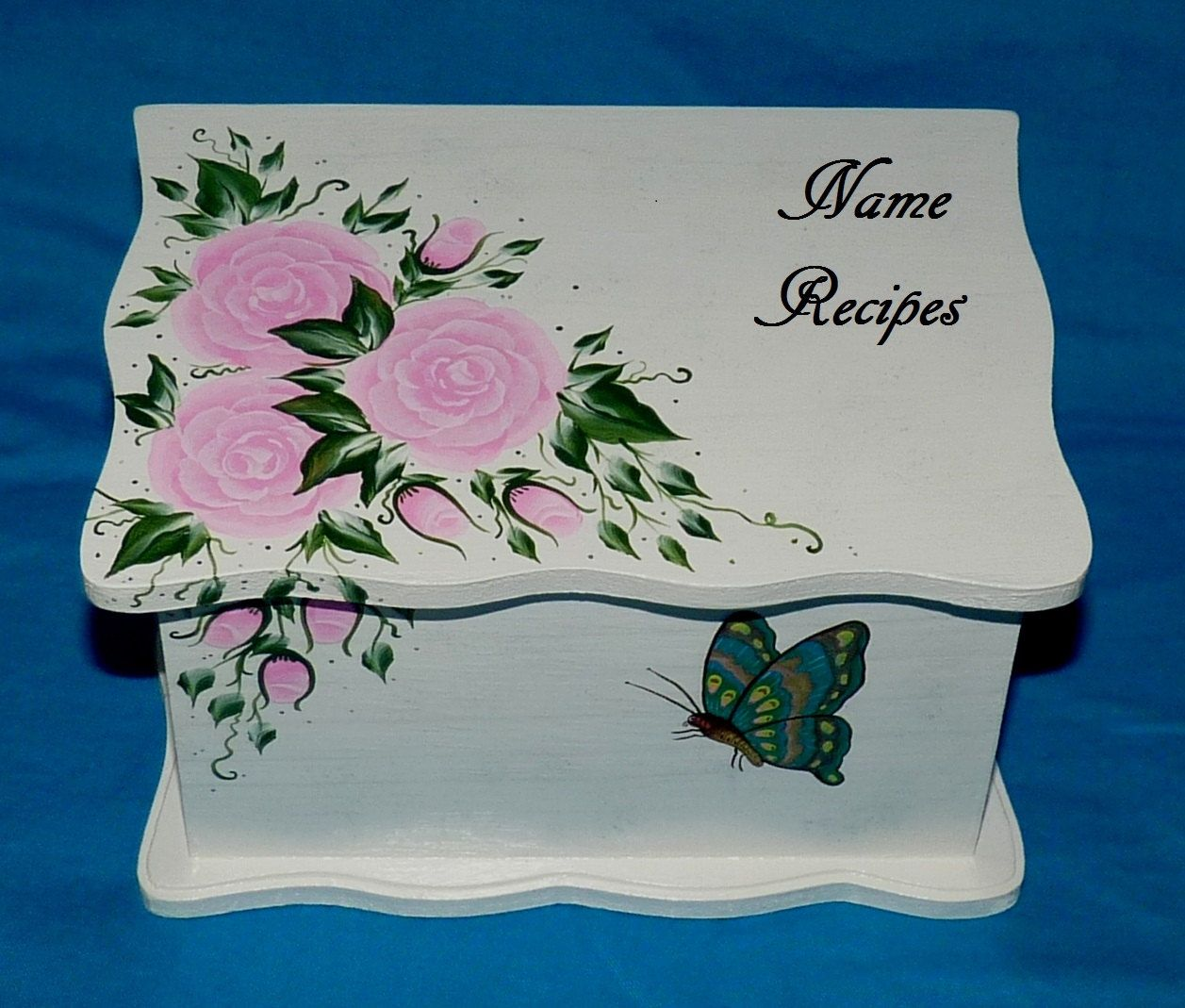 Decorative Recipe Box Hand Painted Personalized Wood Recipe Box Decorative Butterfly