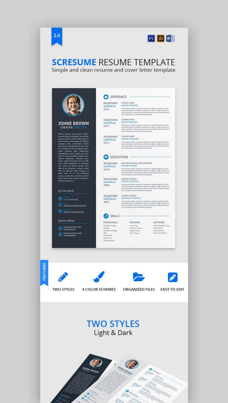 18+ modern resume templates with clean (elegant) designs (2018