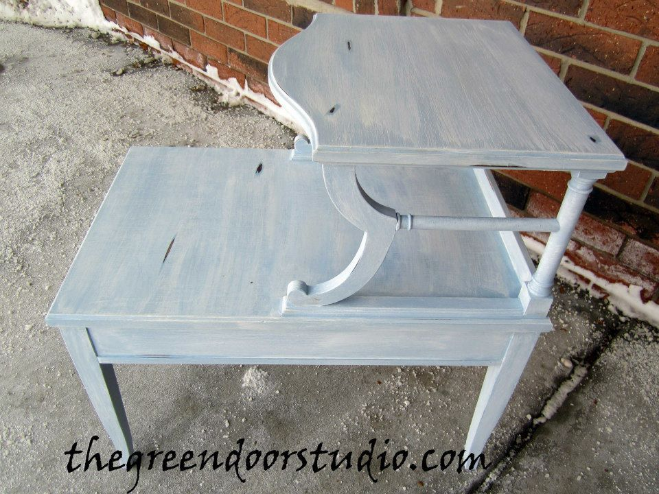Vintage End Table Finished In Light Blue Chalk Paint With A White Washed  Finished.