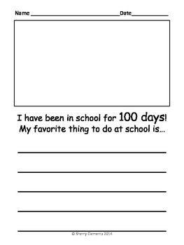 001 100th Day Writing FREEBIE 100 days of school, School