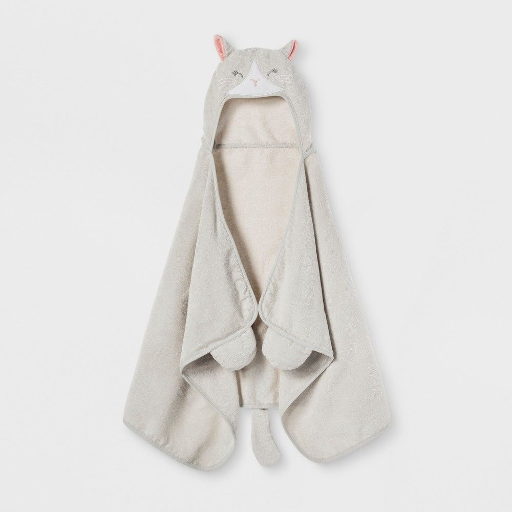 Cat Hooded Bath Towel Silver Pillowfort Idei Podarkov