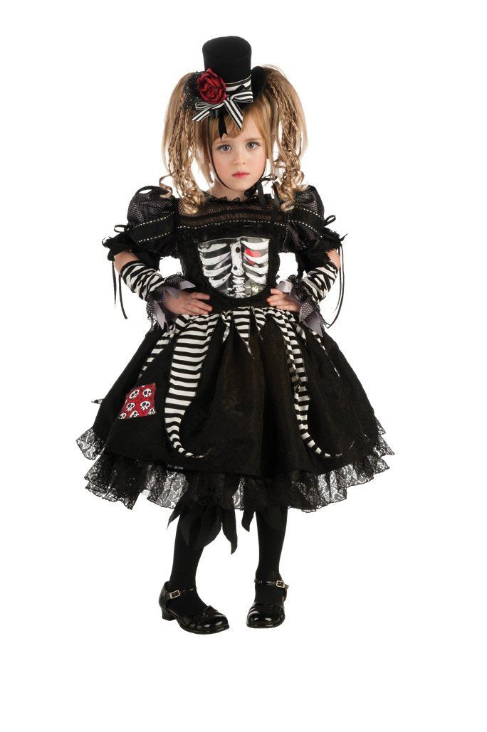 Toddler girl skeleton costume toddler girls day of the for Creative toddler halloween costumes