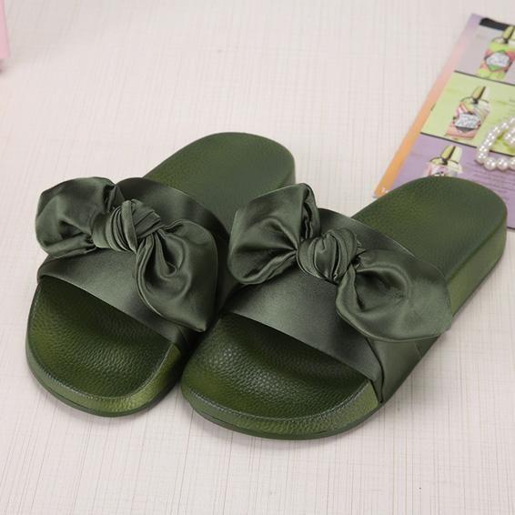Lotus Jolly Silk Bow Slides Women Summer Beach Shoes Woman No Fur Slippers  Flat Heels Flip Flops Ladies Rihanna Bohemia Sandals b11b077b6