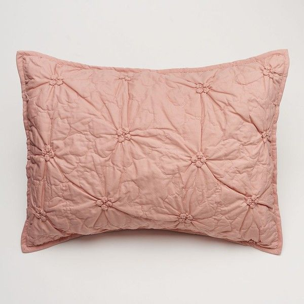 LC Lauren Conrad Madison Sham ($19) ❤ liked on Polyvore featuring home, bed & bath, bedding, bed accessories, pink, pink bedding, floral bedding, quilted bedding, ruched bedding and floral pillow shams